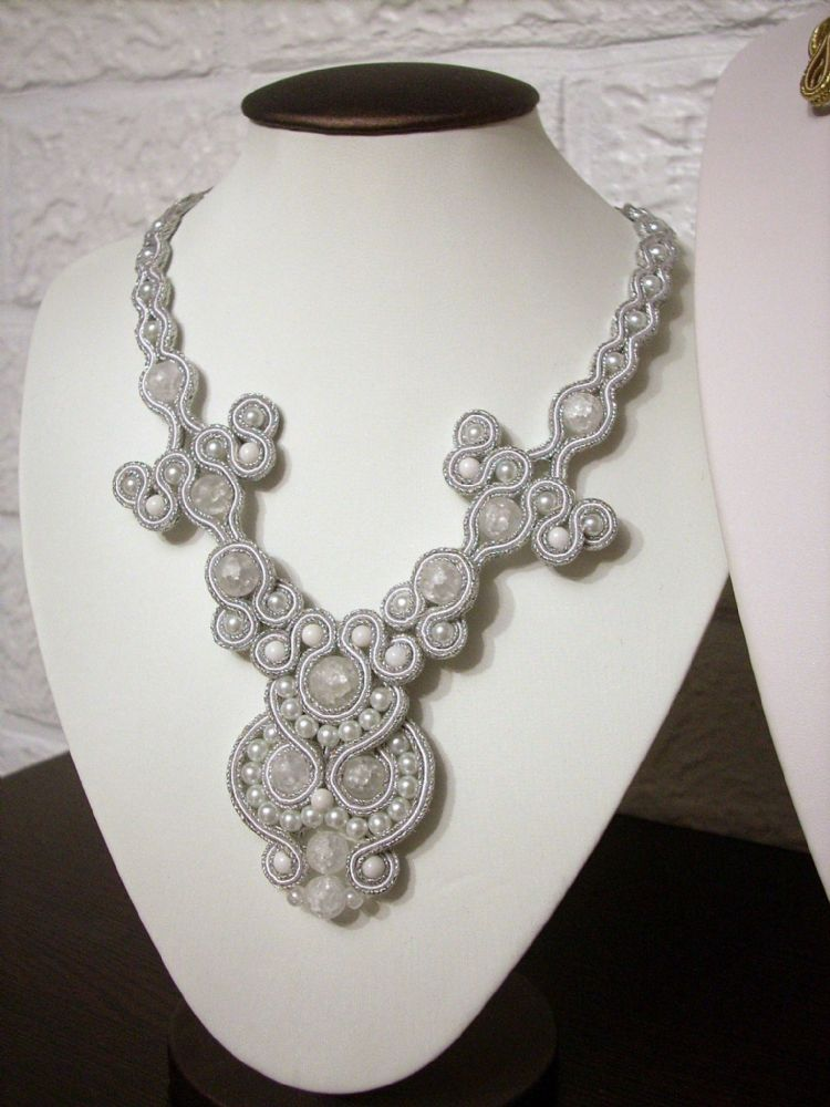 White & Silver Soutache Necklace,Designer,Handmade,Unique(DA1754)